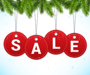 Christmas sale background with hanging labels