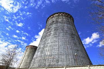 Large factory chimneys
