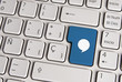 Message keyboard key, social media concept.