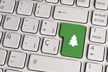 Christmas concept, tree keyboard key.