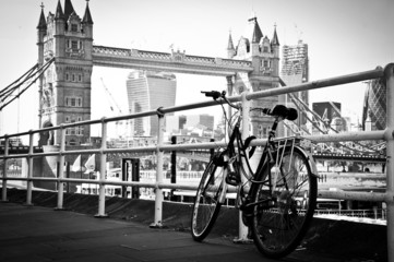 Bicycle parked in London in artistic black and white