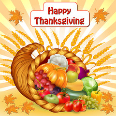 card for Thanksgiving with a cornucopia of fruits and vegetable