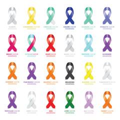 set of awareness ribbons