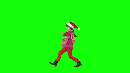 Festive girl skipping in slow motion