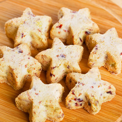 Christmas sugar cookies in the shape of a star