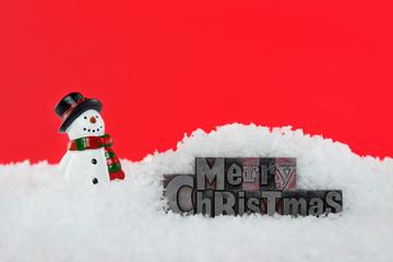 Merry Christmas letterpress snowman