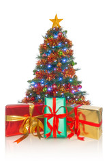 Christmas tree isolated with gifts in front