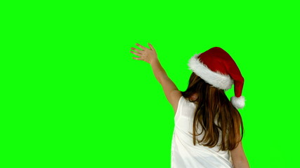 Festive little girl waving in slow motion