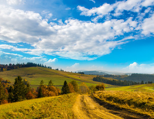 Wide road in the Carpathian Mountains.