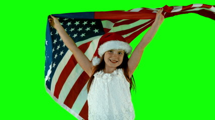 Festive little girl with usa flag in slow motion