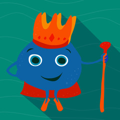 Drawn adult sea king with a crown and staff.