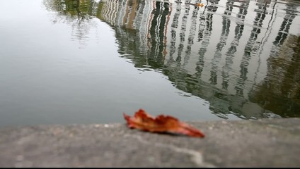 Surface of canal Saint Martin in Paris, France.