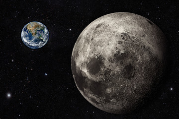 View from the moon orbit with planet earth