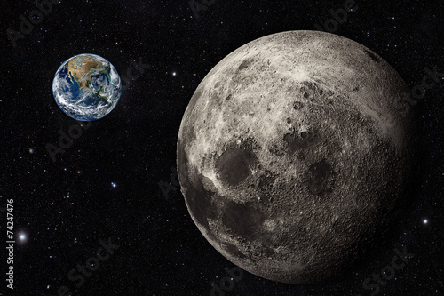 canvas print picture View from the moon orbit with planet earth