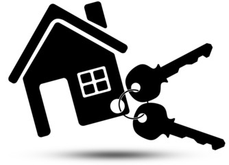 Key chain icon with house on white background