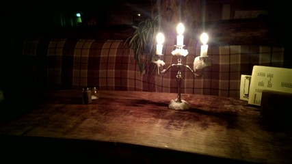 Wooden table with candles