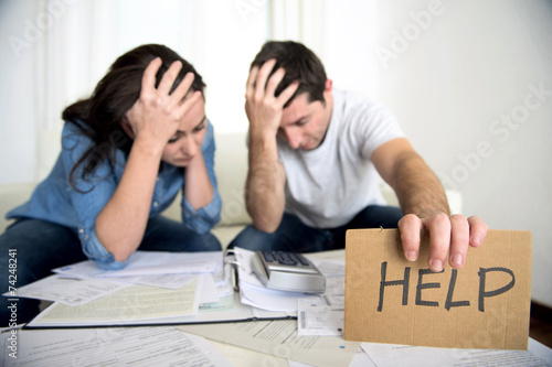 stress couple in bad financial situation asking for help - 74248241