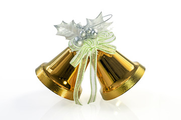 Gold Christmas Bells isolated on white