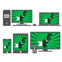 Electronic devices with the map of Pakistan
