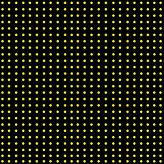 Yellow Dots Over Black with Seamless Completed Pattern