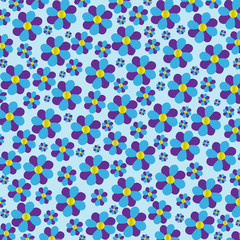 Blue and Purple Flowers with a Seamless Pattern