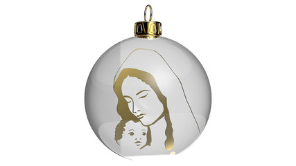 Bauble with gold Maria and Jesus