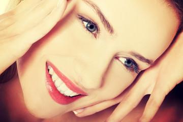 Portrait of beautiful caucasian woman with fresh clean skin.