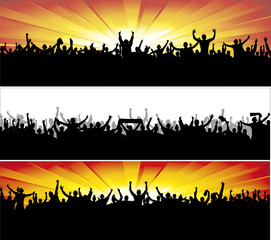 Advertising banners for sports championships and concerts.
