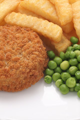 Fishcake Chips and Peas