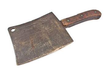 Old rusty meat cleaver isolated on white