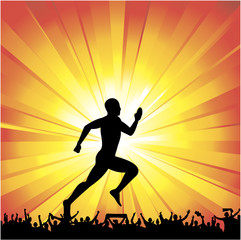 Silhouette of the runner on abstract background.