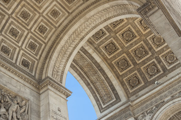 Close up details the Arc de Triomphe in Paris