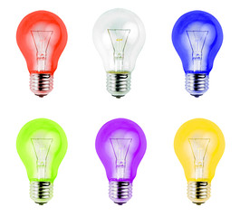 Colorful light bulbs  isolated on white background.