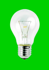 Light bulb isolated on green background.