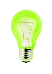 Green light bulb isolated on white background.