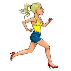 cartoon woman in high heels running, side view