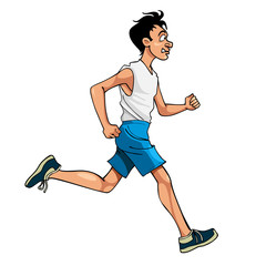 cartoon man in sportswear running, side view