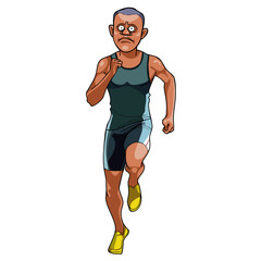 cartoon man in sportswear running, front view