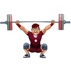 cartoon male athlete crouched with a barbell
