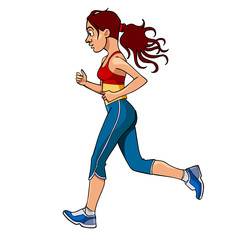 cartoon woman in sportswear running, side view