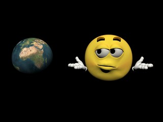 Emoticon and the planet - 3d render