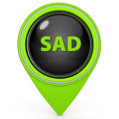 Sad face pointer icon on white background