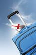 roleta: Destination England. Blue suitcase with flag.
