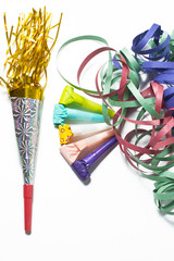 Items for Party birthday or new year on white background