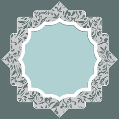 Frame for scrapbooking with floral elements and white border