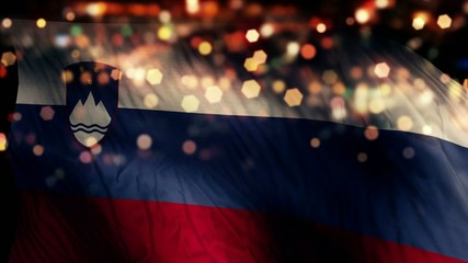 Slovenia Flag Light Night Bokeh Abstract Loop Animation