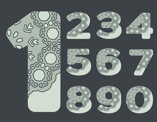 Font with lace in grey colors, numbers