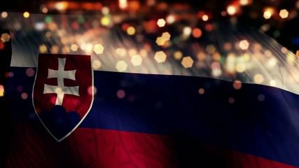Slovakia Flag Light Night Bokeh Abstract Loop Animation