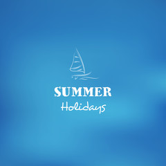 Vector blurred background on the subject summer holiday sailing