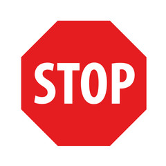 Red stop sign on a white background